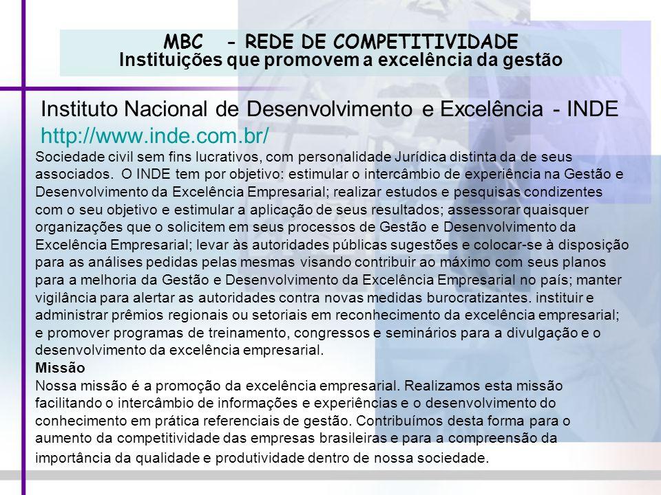 MBC - REDE DE COMPETITIVIDADE Instituições que promovem a excelência da gestão Instituto Nacional de Desenvolvimento e Excelência - INDE http://www.in