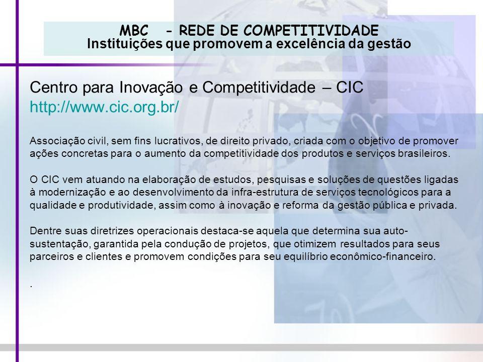 MBC - REDE DE COMPETITIVIDADE Instituições que promovem a excelência da gestão Centro para Inovação e Competitividade – CIC http://www.cic.org.br/ Ass