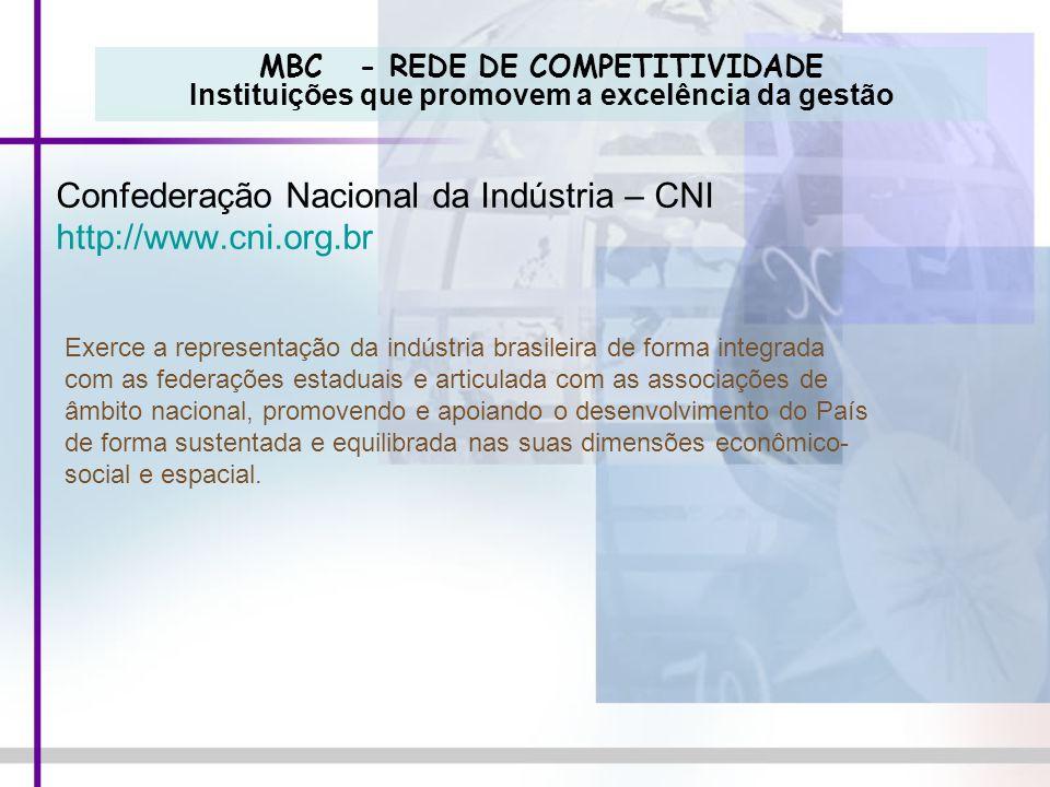 MBC - REDE DE COMPETITIVIDADE Instituições que promovem a excelência da gestão Confederação Nacional da Indústria – CNI http://www.cni.org.br Exerce a