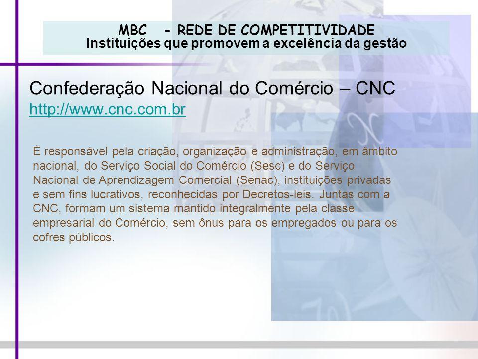 MBC - REDE DE COMPETITIVIDADE Instituições que promovem a excelência da gestão Confederação Nacional do Comércio – CNC http://www.cnc.com.br É respons