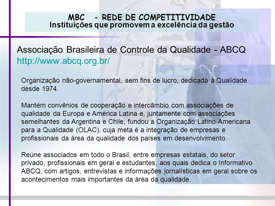 MBC - REDE DE COMPETITIVIDADE Instituições que promovem a excelência da gestão Associação Brasileira de Controle da Qualidade - ABCQ http://www.abcq.o