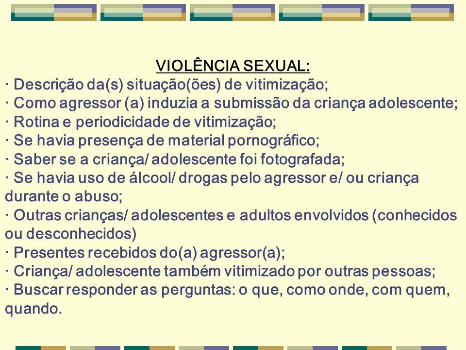 VIOLÊNCIA SEXUAL: · Descrição da(s) situação(ões) de vitimização; · Como agressor (a) induzia a submissão da criança adolescente; · Rotina e periodici