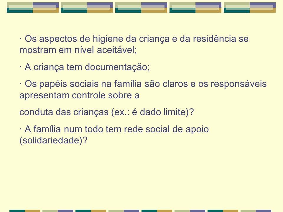· Os aspectos de higiene da criança e da residência se mostram em nível aceitável; · A criança tem documentação; · Os papéis sociais na família são cl