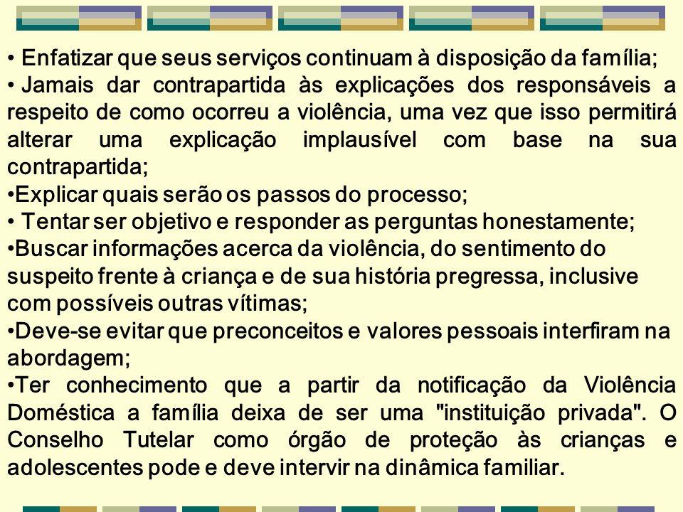 INFORMACÕES IMPORTANTES A OBTER EM CADA FORMA DE VIOLÊNCIA