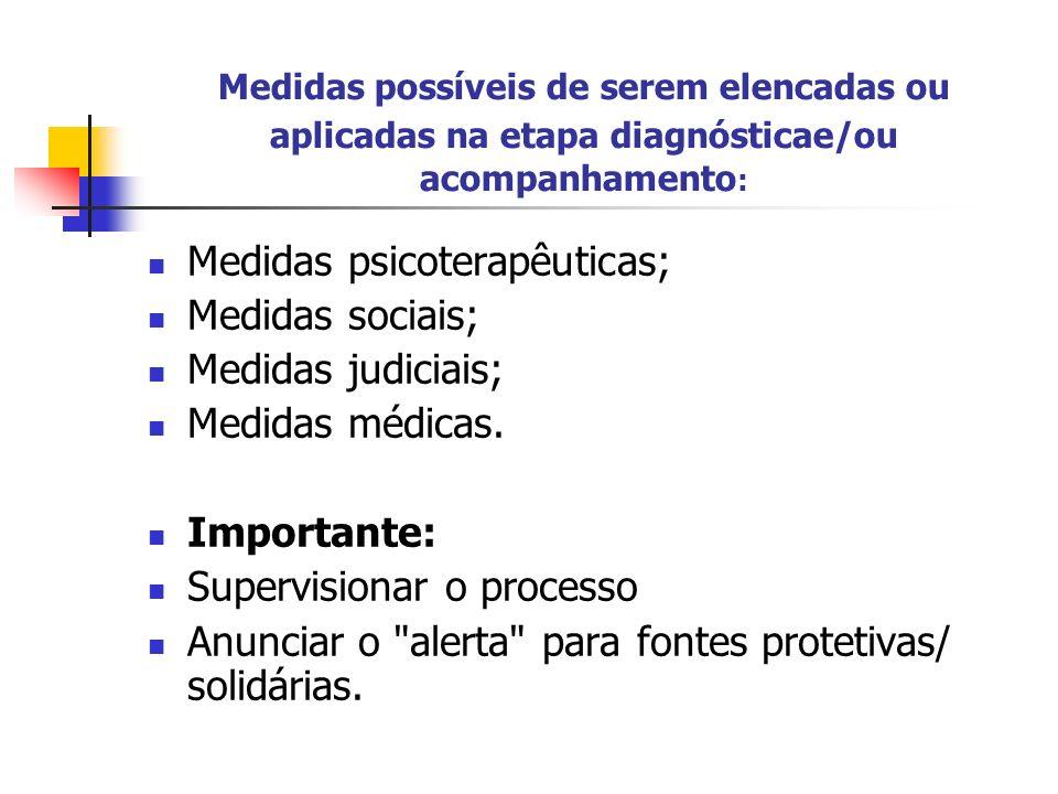Medidas possíveis de serem elencadas ou aplicadas na etapa diagnósticae/ou acompanhamento : Medidas psicoterapêuticas; Medidas sociais; Medidas judici