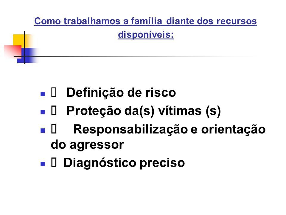 Como trabalhamos a família diante dos recursos disponíveis: Definição de risco Proteção da(s) vítimas (s) Responsabilização e orientação do agressor D