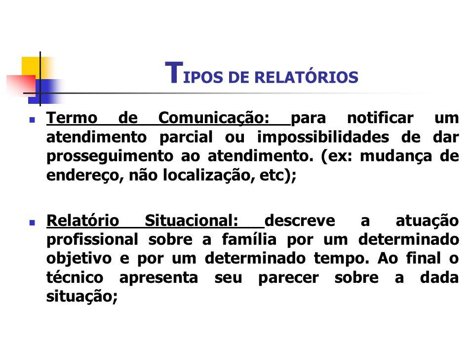 T IPOS DE RELATÓRIOS Termo de Comunicação: para notificar um atendimento parcial ou impossibilidades de dar prosseguimento ao atendimento. (ex: mudanç