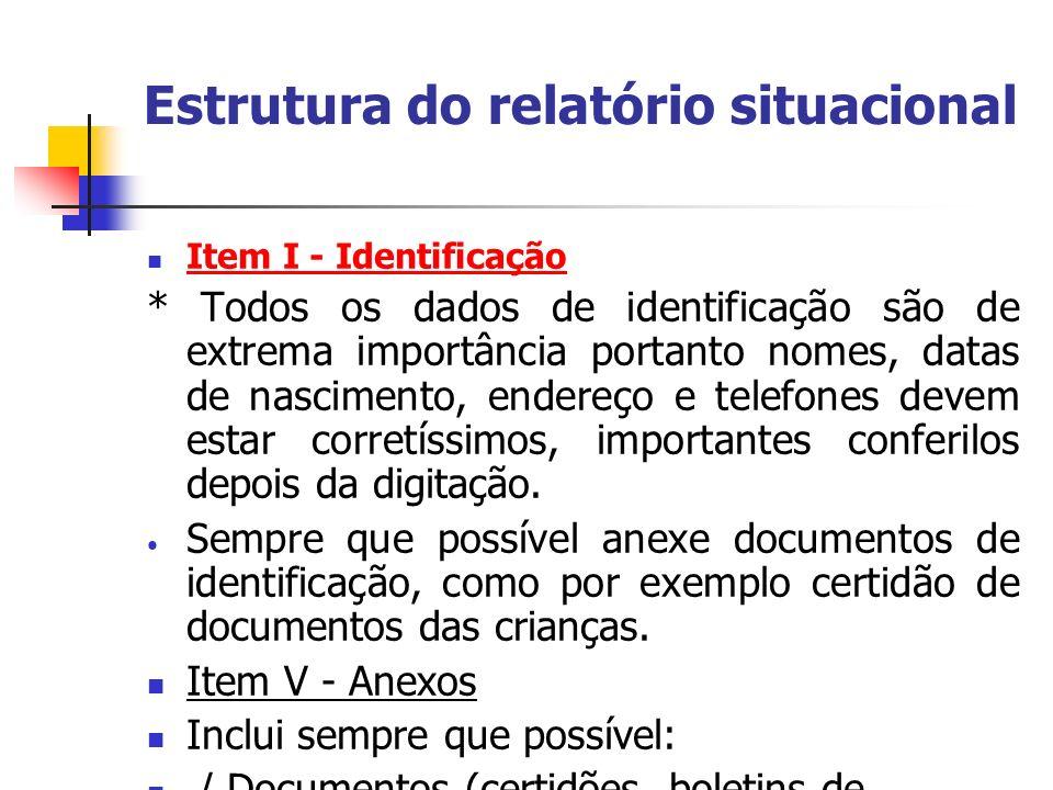 Estrutura do relatório situacional Item I - Identificação * Todos os dados de identificação são de extrema importância portanto nomes, datas de nascim