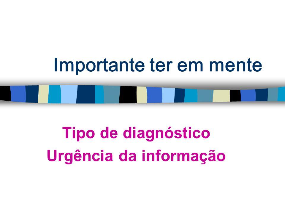 Importante ter em mente Tipo de diagnóstico Urgência da informação