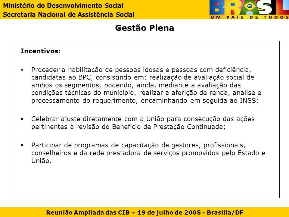 Gestão Plena Incentivos: Proceder a habilitação de pessoas idosas e pessoas com deficiência, candidatas ao BPC, consistindo em: realização de avaliaçã