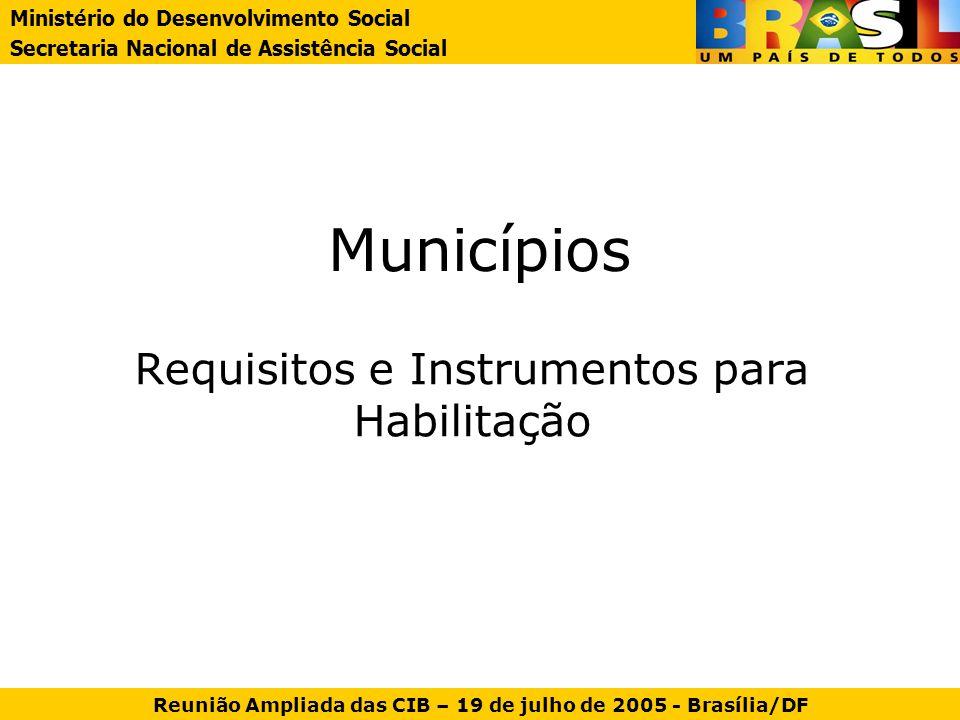 Municípios Requisitos e Instrumentos para Habilitação Ministério do Desenvolvimento Social Secretaria Nacional de Assistência Social Reunião Ampliada
