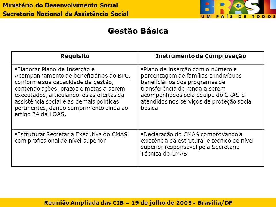 Gestão Básica RequisitoInstrumento de Comprovação Elaborar Plano de Inserção e Acompanhamento de beneficiários do BPC, conforme sua capacidade de gest