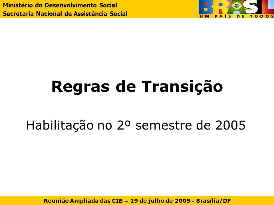 Regras de Transição Habilitação no 2º semestre de 2005 Ministério do Desenvolvimento Social Secretaria Nacional de Assistência Social Reunião Ampliada