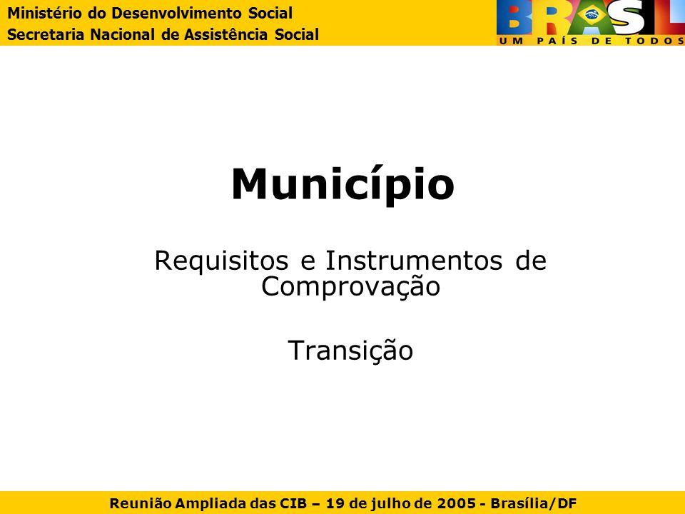 Município Requisitos e Instrumentos de Comprovação Transição Ministério do Desenvolvimento Social Secretaria Nacional de Assistência Social Reunião Am