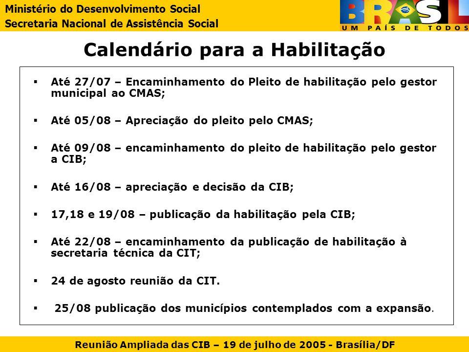 Calendário para a Habilitação Até 27/07 – Encaminhamento do Pleito de habilitação pelo gestor municipal ao CMAS; Até 05/08 – Apreciação do pleito pelo