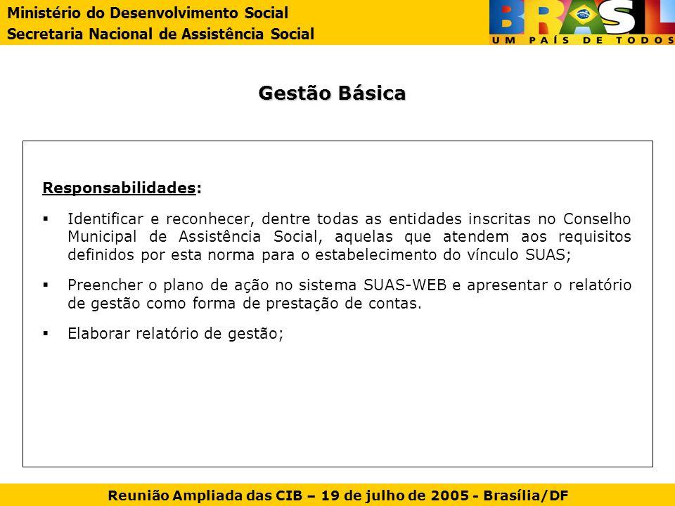 Gestão Básica Responsabilidades: Identificar e reconhecer, dentre todas as entidades inscritas no Conselho Municipal de Assistência Social, aquelas qu