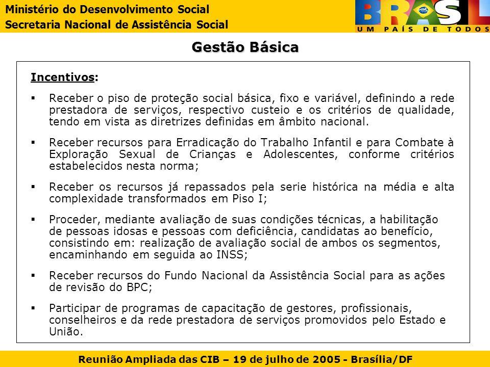 Gestão Básica Incentivos: Receber o piso de proteção social básica, fixo e variável, definindo a rede prestadora de serviços, respectivo custeio e os