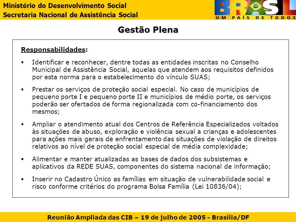 Gestão Plena Responsabilidades: Identificar e reconhecer, dentre todas as entidades inscritas no Conselho Municipal de Assistência Social, aquelas que