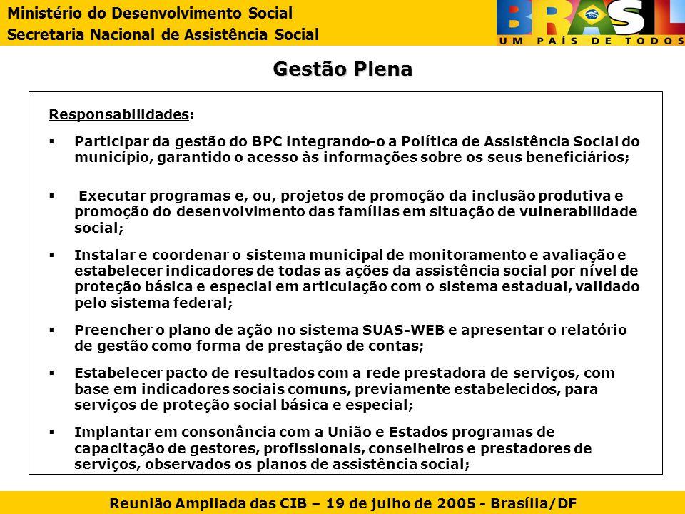 Gestão Plena Responsabilidades: Participar da gestão do BPC integrando-o a Política de Assistência Social do município, garantido o acesso às informaç