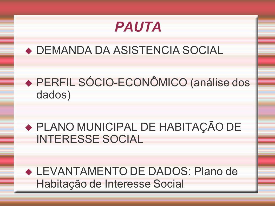 PAUTA DEMANDA DA ASISTENCIA SOCIAL PERFIL SÓCIO-ECONÔMICO (análise dos dados) PLANO MUNICIPAL DE HABITAÇÃO DE INTERESSE SOCIAL LEVANTAMENTO DE DADOS: