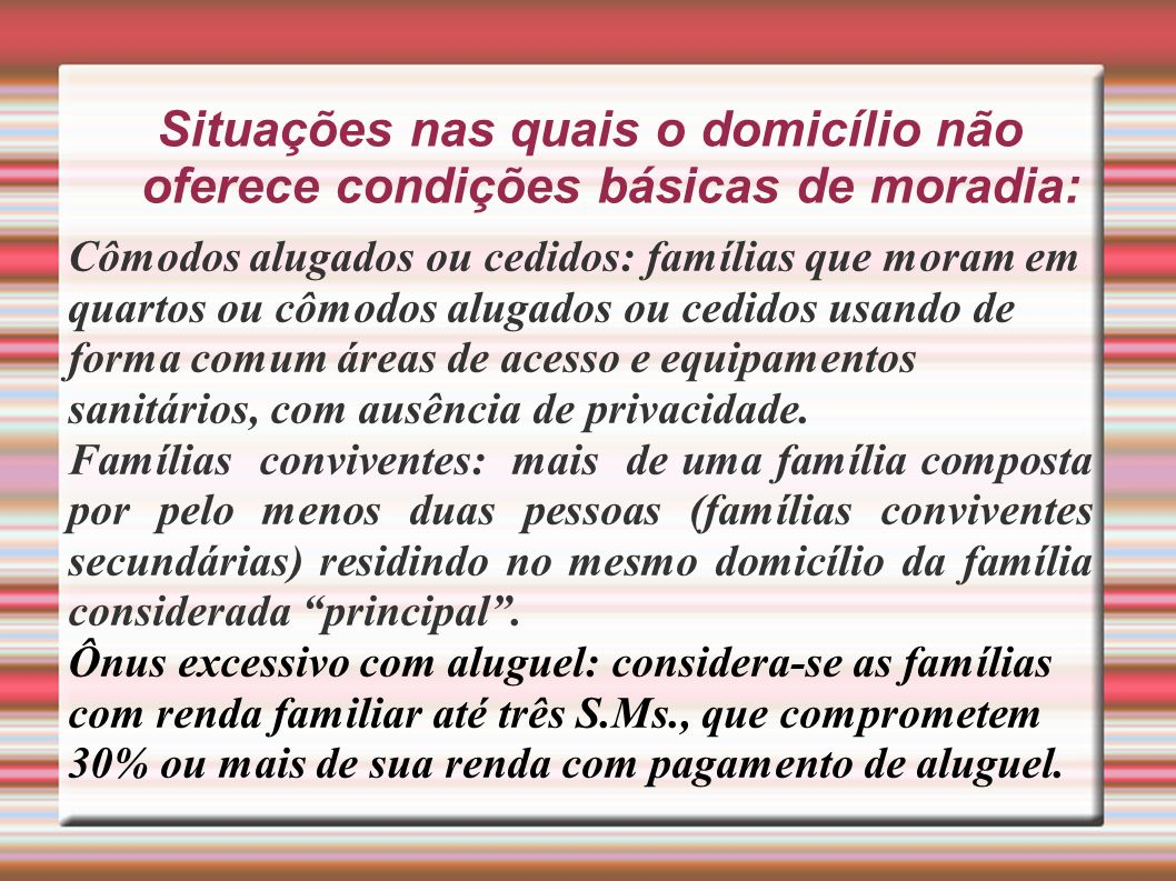 Situações nas quais o domicílio não oferece condições básicas de moradia: Cômodos alugados ou cedidos: famílias que moram em quartos ou cômodos alugad