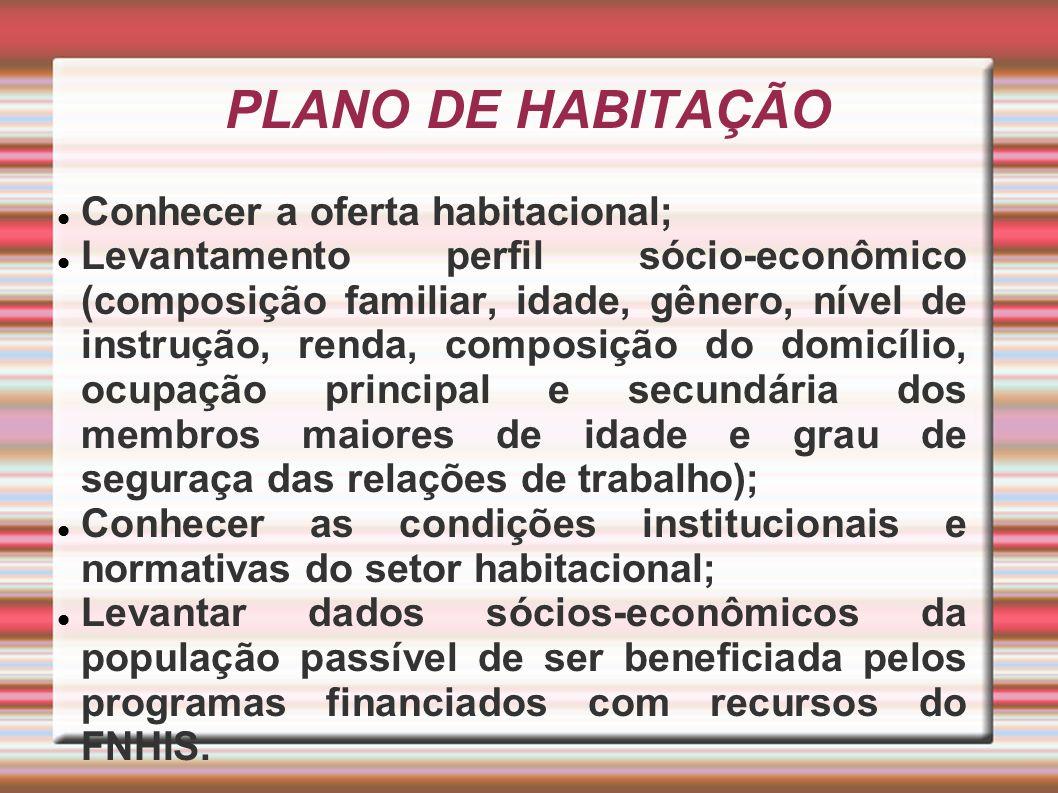 PLANO DE HABITAÇÃO Conhecer a oferta habitacional; Levantamento perfil sócio-econômico (composição familiar, idade, gênero, nível de instrução, renda,