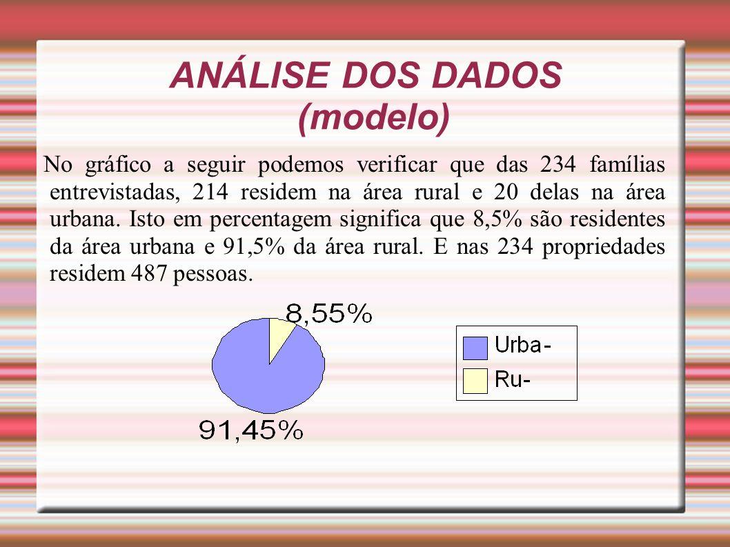 ANÁLISE DOS DADOS (modelo) No gráfico a seguir podemos verificar que das 234 famílias entrevistadas, 214 residem na área rural e 20 delas na área urba