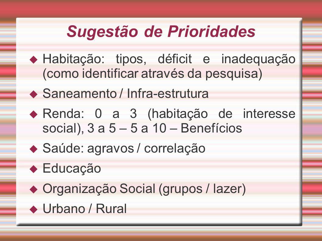 Sugestão de Prioridades Habitação: tipos, déficit e inadequação (como identificar através da pesquisa) Saneamento / Infra-estrutura Renda: 0 a 3 (habi
