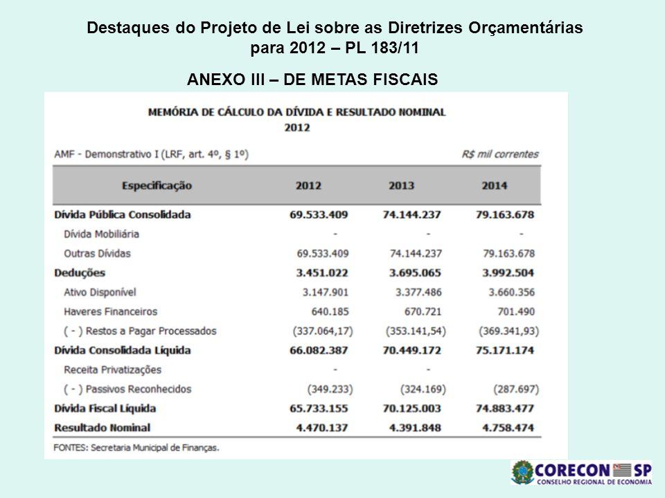 Destaques do Projeto de Lei sobre as Diretrizes Orçamentárias para 2012 – PL 183/11 ANEXO III – DE METAS FISCAIS