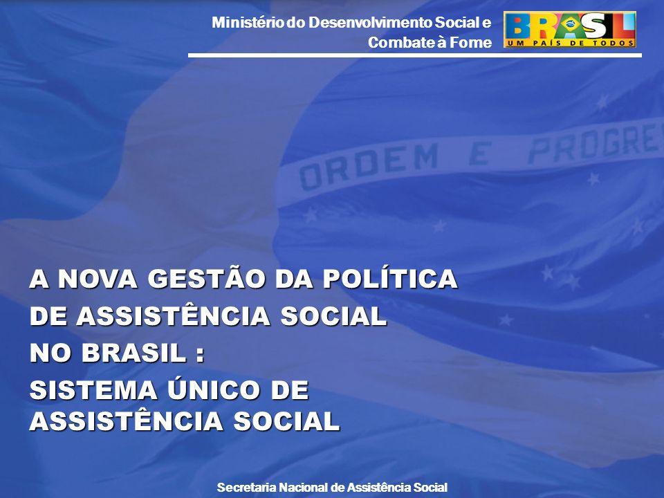 Ministério do Desenvolvimento Social e Combate à Fome Secretaria Nacional de Assistência Social A NOVA GESTÃO DA POLÍTICA DE ASSISTÊNCIA SOCIAL NO BRA