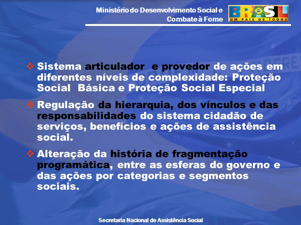 Ministério do Desenvolvimento Social e Combate à Fome Secretaria Nacional de Assistência Social Sistema articulador e provedor de ações em diferentes