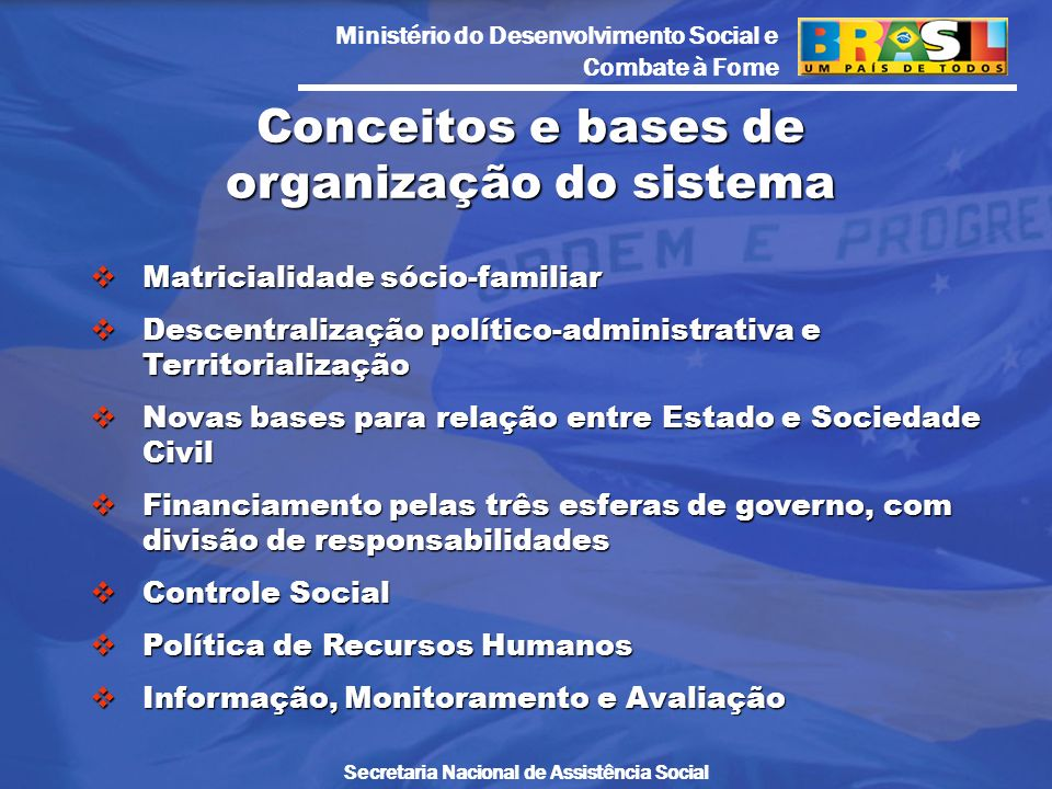 Ministério do Desenvolvimento Social e Combate à Fome Secretaria Nacional de Assistência Social Matricialidade sócio-familiar Matricialidade sócio-fam