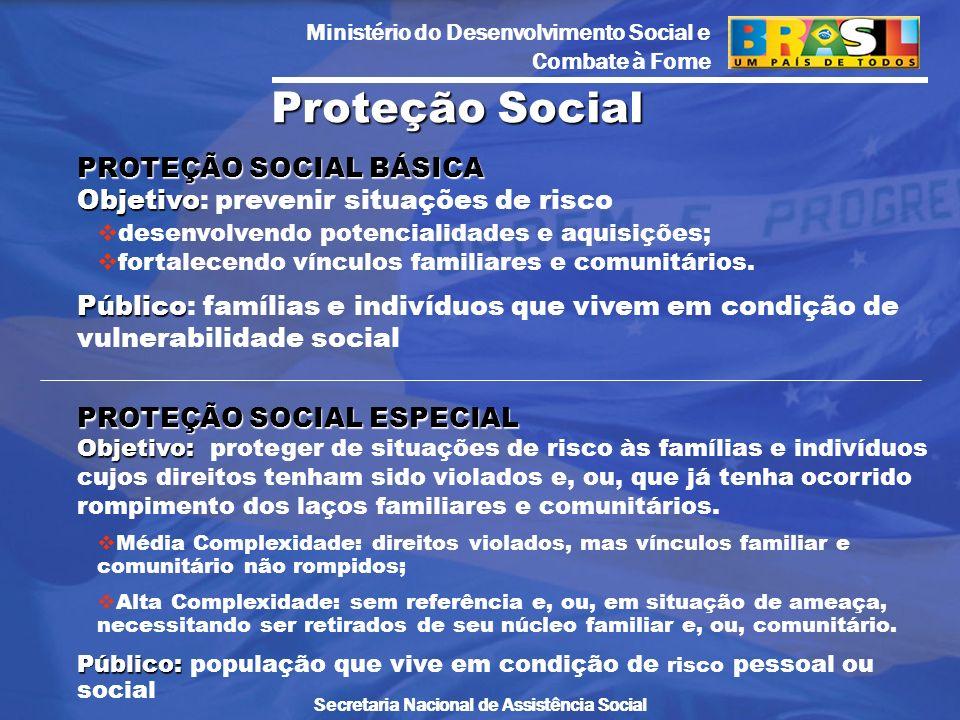 Ministério do Desenvolvimento Social e Combate à Fome Secretaria Nacional de Assistência Social PROTEÇÃO SOCIAL BÁSICA Objetivo PROTEÇÃO SOCIAL BÁSICA