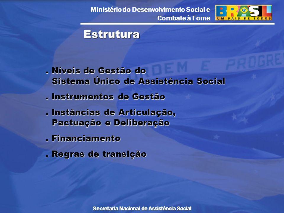 Ministério do Desenvolvimento Social e Combate à Fome Secretaria Nacional de Assistência Social. Níveis de Gestão do Sistema Único de Assistência Soci
