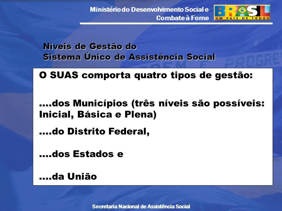 Ministério do Desenvolvimento Social e Combate à Fome Secretaria Nacional de Assistência Social Níveis de Gestão do Sistema Único de Assistência Socia