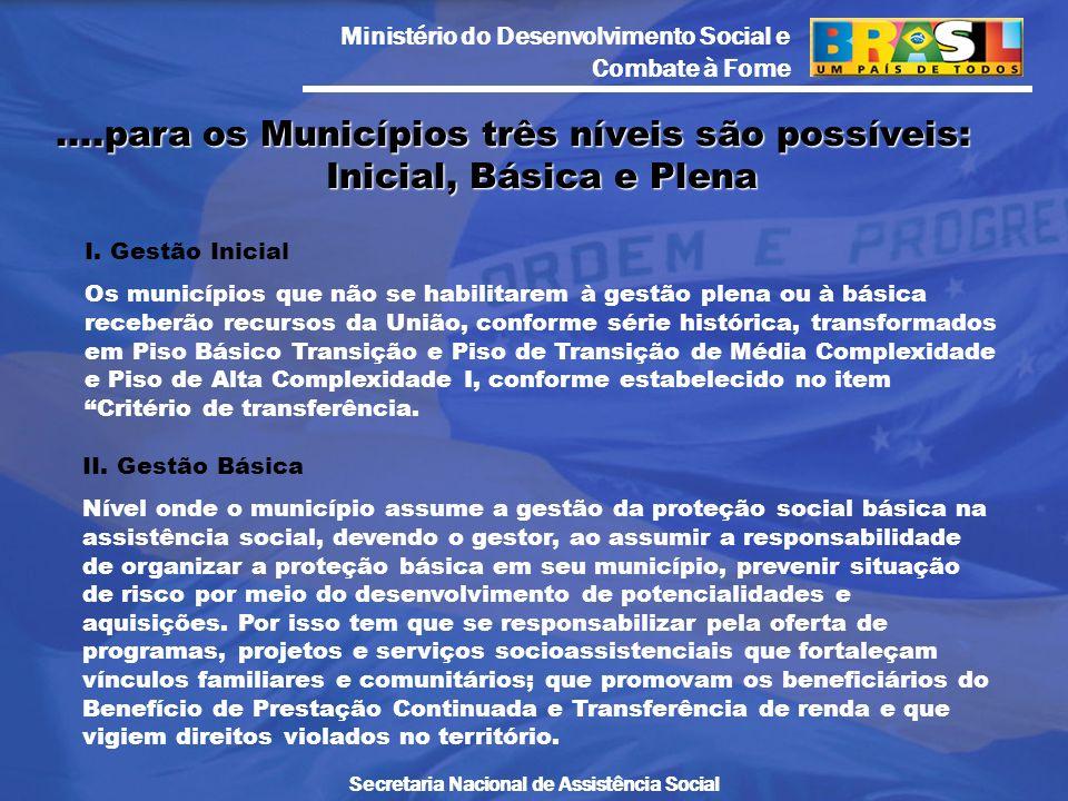 Ministério do Desenvolvimento Social e Combate à Fome Secretaria Nacional de Assistência Social I. Gestão Inicial Os municípios que não se habilitarem