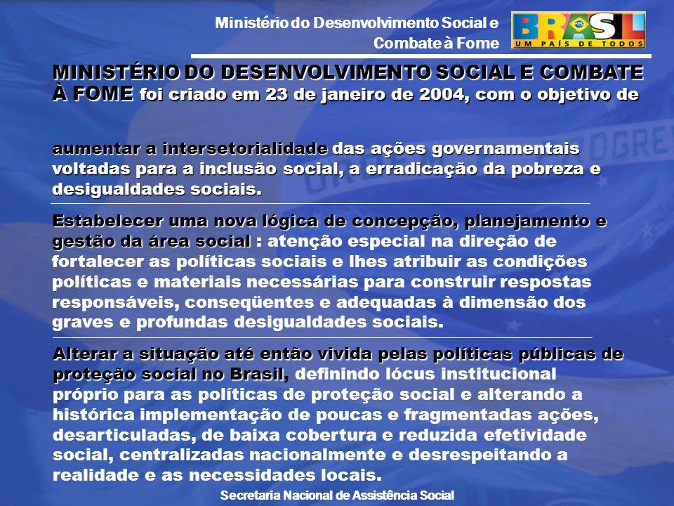 Ministério do Desenvolvimento Social e Combate à Fome Secretaria Nacional de Assistência Social aumentar a intersetorialidade das ações governamentais