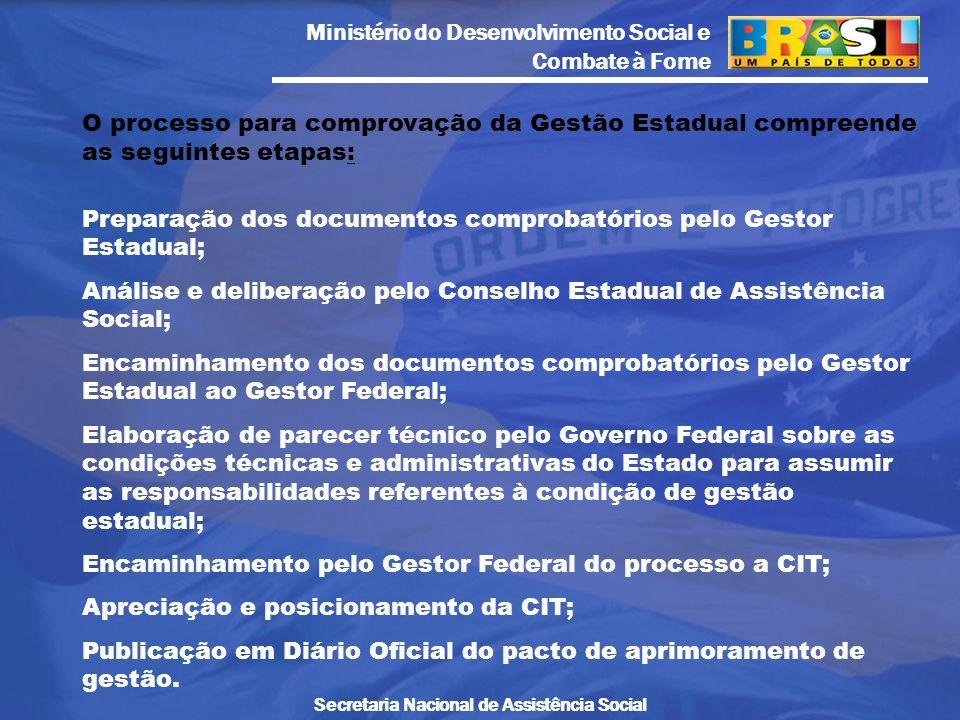 Ministério do Desenvolvimento Social e Combate à Fome Secretaria Nacional de Assistência Social O processo para comprovação da Gestão Estadual compree