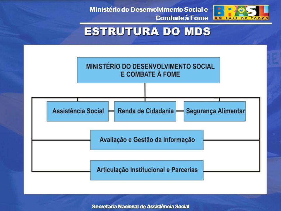 Ministério do Desenvolvimento Social e Combate à Fome Secretaria Nacional de Assistência Social ESTRUTURA DO MDS