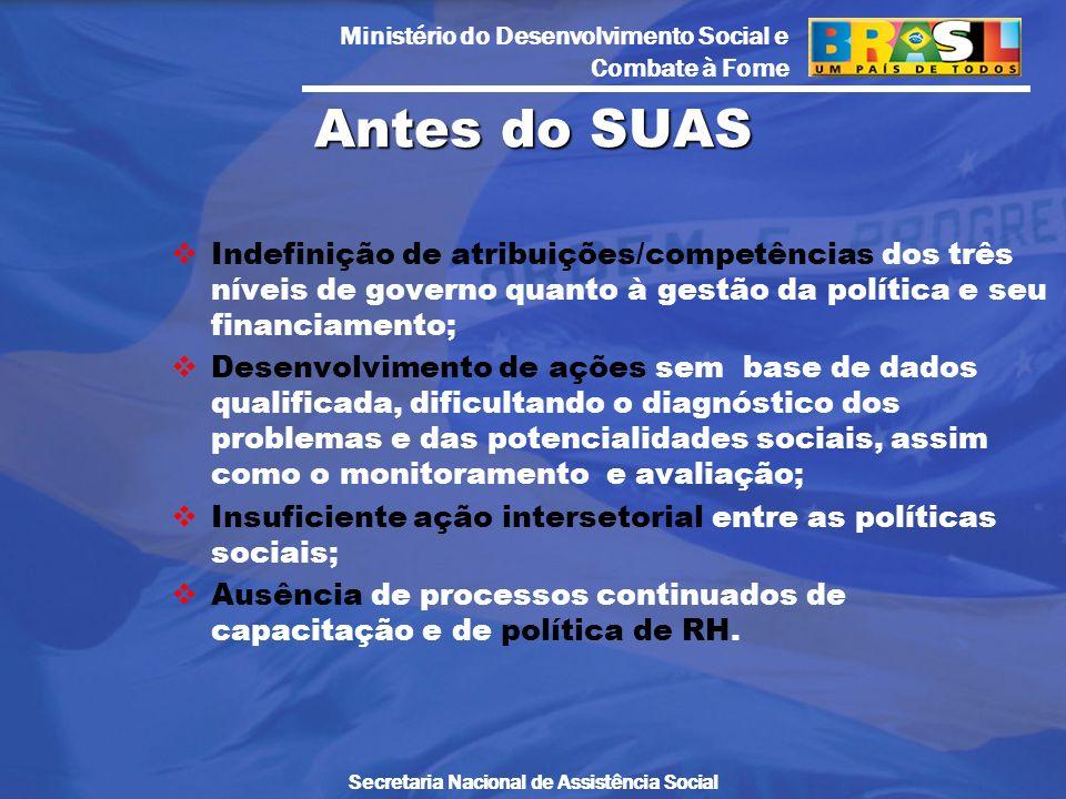 Ministério do Desenvolvimento Social e Combate à Fome Secretaria Nacional de Assistência Social Indefinição de atribuições/competências dos três nívei
