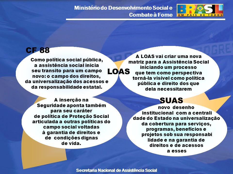 Ministério do Desenvolvimento Social e Combate à Fome Secretaria Nacional de Assistência Social Como política social pública, a assistência social ini