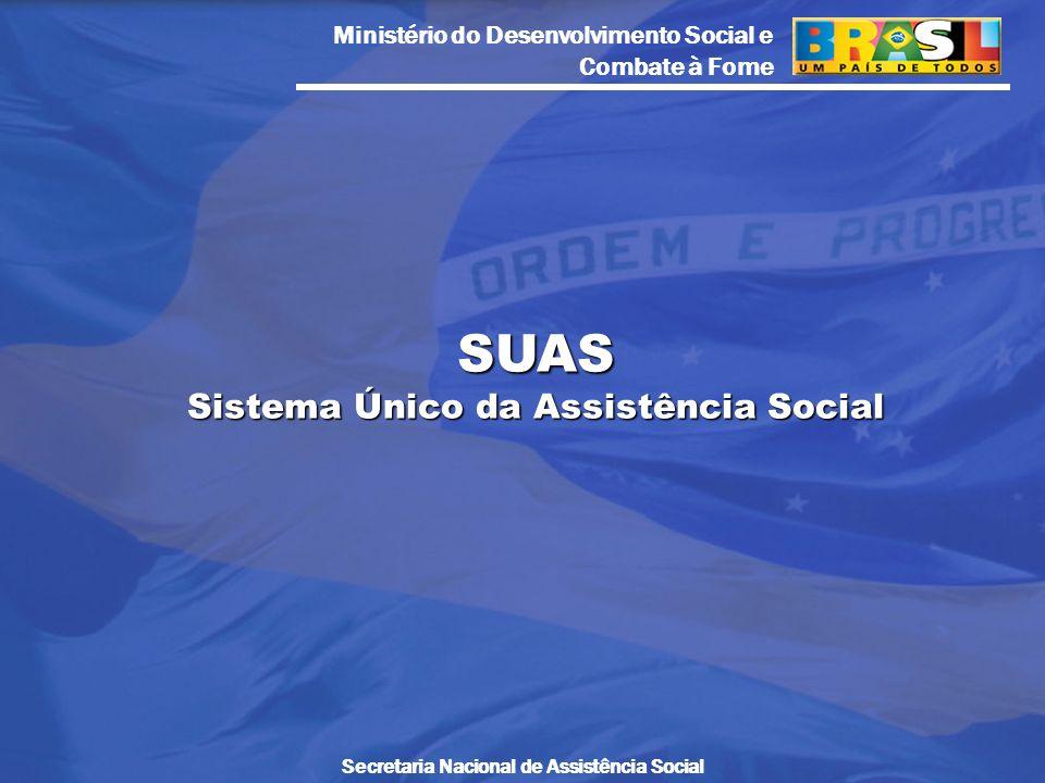 Ministério do Desenvolvimento Social e Combate à Fome Secretaria Nacional de Assistência Social SUAS Sistema Único da Assistência Social
