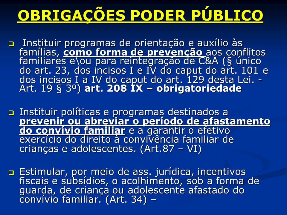 OBRIGAÇÕES PODER PÚBLICO Instituir programas de orientação e auxílio às famílias, como forma de prevenção aos conflitos familiares e\ou para reintegração de C&A (§ único do art.