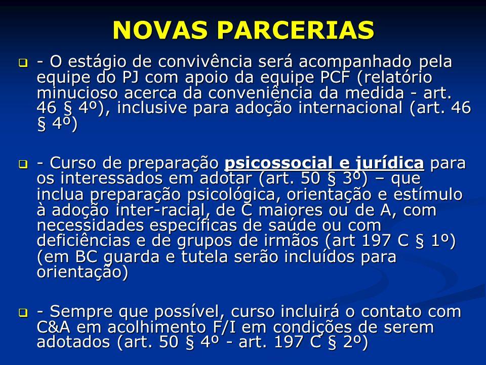 NOVAS PARCERIAS - O estágio de convivência será acompanhado pela equipe do PJ com apoio da equipe PCF (relatório minucioso acerca da conveniência da medida - art.