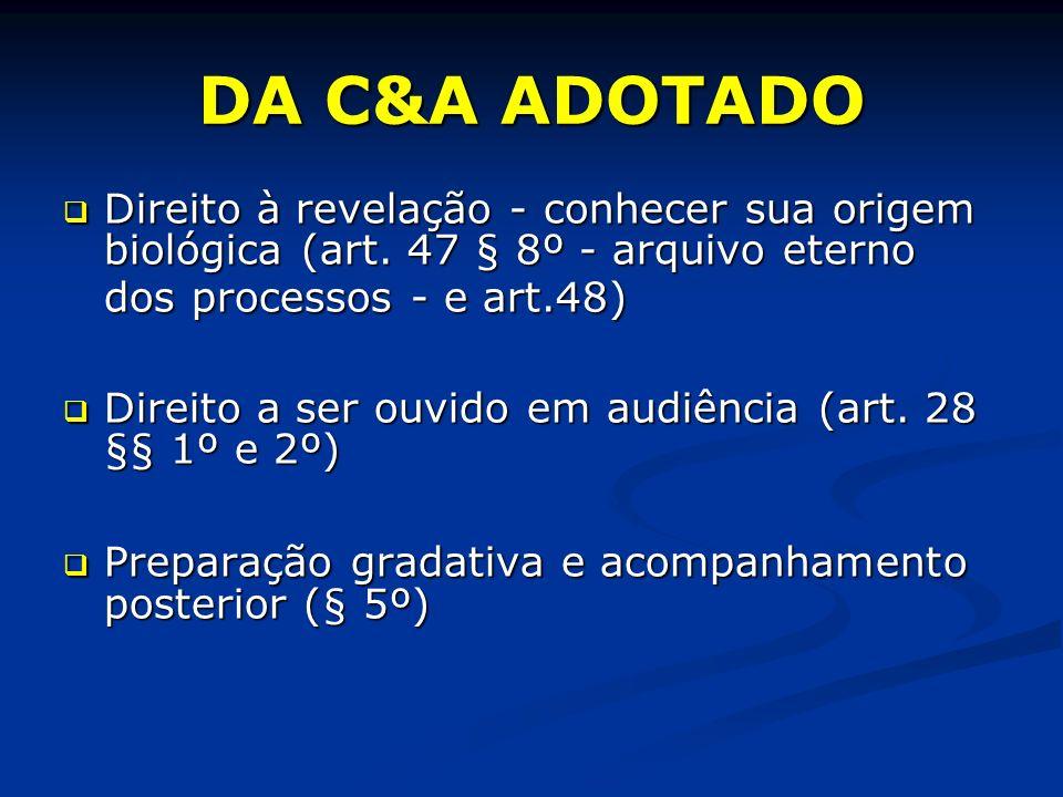 DA C&A ADOTADO Direito à revelação - conhecer sua origem biológica (art.