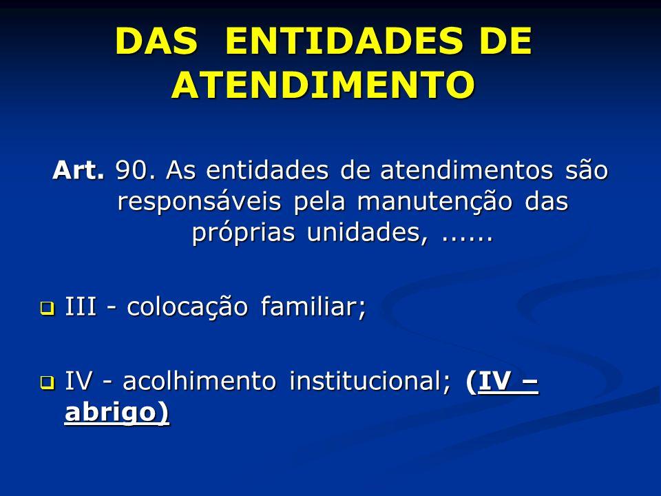 DAS ENTIDADES DE ATENDIMENTO Art. 90.