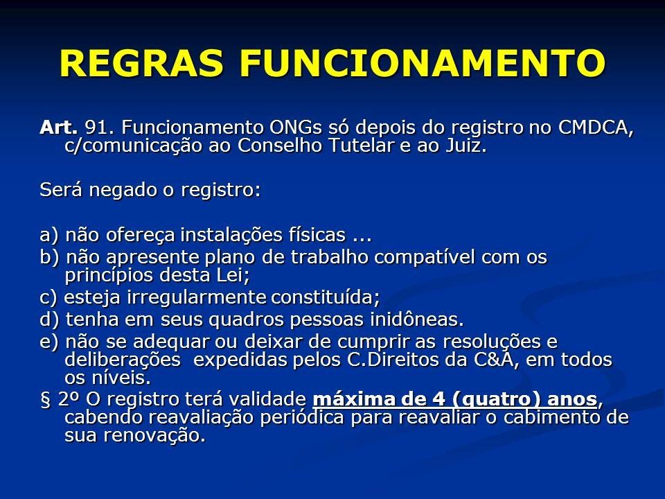 REGRAS FUNCIONAMENTO Art. 91.