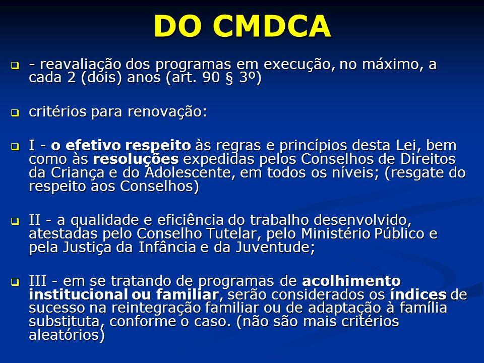 DO CMDCA - reavaliação dos programas em execução, no máximo, a cada 2 (dois) anos (art.