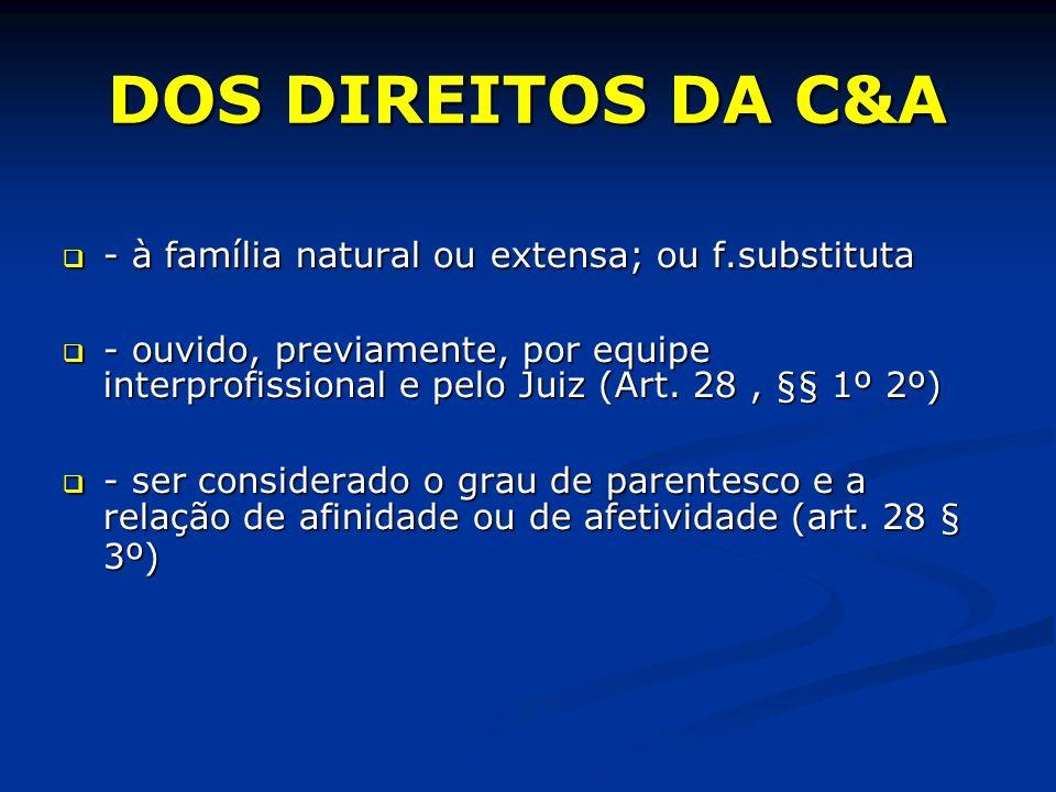 DOS DIREITOS DA C&A - à família natural ou extensa; ou f.substituta - à família natural ou extensa; ou f.substituta - ouvido, previamente, por equipe interprofissional e pelo Juiz (Art.