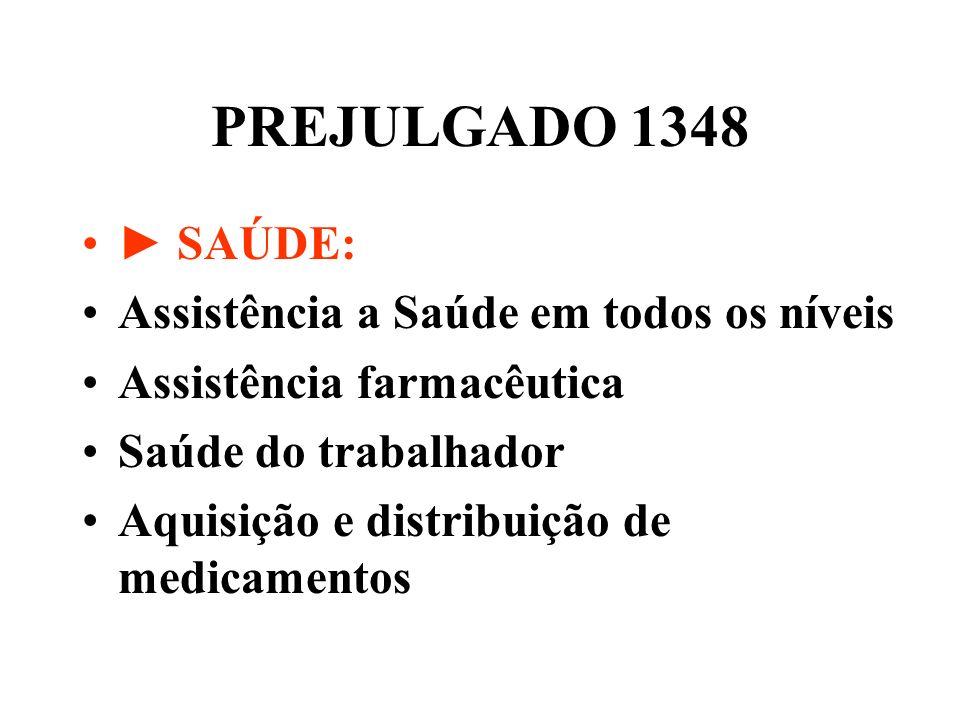 PREJULGADO 1348 SAÚDE: Assistência a Saúde em todos os níveis Assistência farmacêutica Saúde do trabalhador Aquisição e distribuição de medicamentos